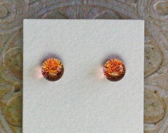 Dichroic Glass Earrings , Petite, Light Coral  DGE-1385