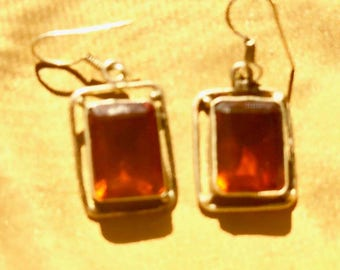 Tangerine citrine and silver earrings