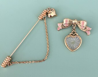 Vintage 2pc heart brooch lot