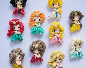 All Dressed Up Princess Clays - Set of 10 Clay Embellishments - Craft Embellishment - Flat Back Bow Centre