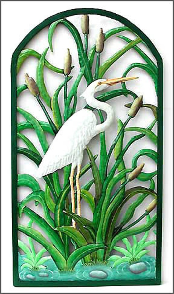 Painted Metal Tropical Wall Decor White Egret Wall Art