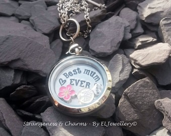 Mothers Day Hand Stamped Personalised 'Best Mum Ever' Floating Locket, Stainless Steel, Memory Locket, Jewellery, Mothers Jewelry, Charms.