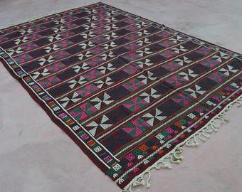 """123"""" X 84"""" large kilim rug, Vintage Turkish kilim , area rug, kilim rug, kelim rug, vintage rug, bohemian rug, Turkish rug, rug, tribal rug"""