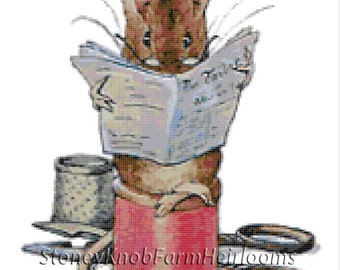Tailor of Gloucester Mouse Beatrix Potter Cross Stitch Pattern in Color and in BlkWht Symbols Download