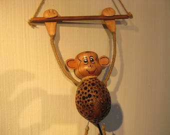 Coconut Shell Lamp Monkey Wall  Lamp Thailand Craftsman