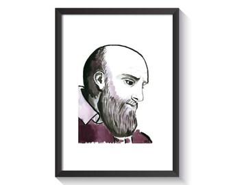 Saint Francis de Sales Original Watercolor Print