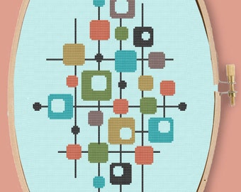 MID MOD COLLAGE - Modern Counted Cross Stitch Pattern - pdf instant download