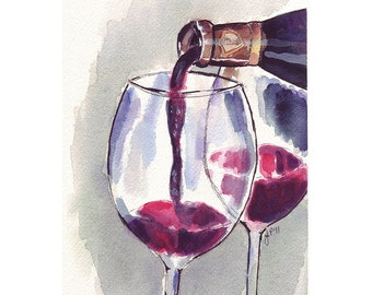 Red Wine Glass Pour, Watercolor Art Print, 5x7 Print