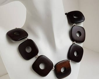 35mm square Ebony Wood Necklace sterling silver handmade wood jewellery ChaByDesign UK Designer handmade chain