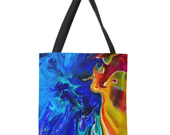 Ocean Angel, Large Tote Bag, Totes, A Unique Gift for Art Lovers, Totes, Artsy Gift, Artwork, Abstract Painting, Blue, Yellow, Red,sac