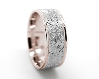Wedding Ring, Flower Ring, Wedding Band, Mens Ring, Engraved Ring, Gold Ring, Rose Gold Ring, White Gold Ring, Matching Rings, Filigree Ring