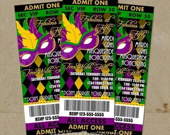 100 Mardi Gras Masquerade Party Ticket Style Invitations