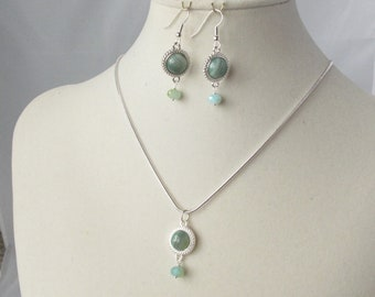 Striped Green Agate necklace and earrings set