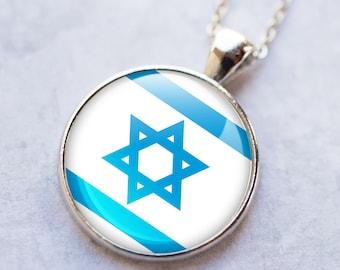 STAR of DAVID Necklace/Israel Flag Pendant/Flag of Israel Necklace/Israel Flag Pendant Plated Necklace/Israel @70 Necklace/Israel Accessory