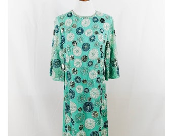 Vintage 50s / 60s Blue Beaded Sequin Dress