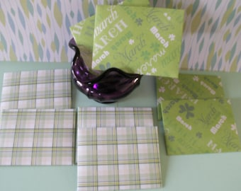 8--3 by 4 envelopes, green envelopes, march envelopes, plaid envelopes, holiday envelopes