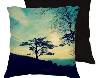 Love Lights the Sky - Art Pillow, Throw Pillow, Home Decor, Photography, Mountains, Blue, Nature, Trees, Silhouettes, Sunset