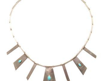 Vintage Navajo 1960'S Sterling Marked Turquoise Modernist Necklace