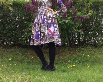 Country short hippy dress in purple color elements wedding gypsy style dress purple bohemian dress for summer events purple pattern dress