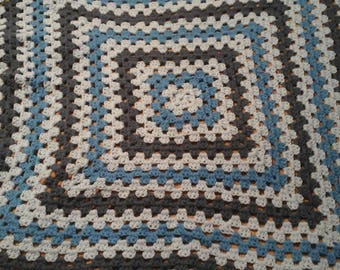 Baby blue granny square afghan
