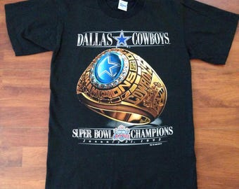 Superbowl XXVII Dallas Cowboys Championship Vintage Tee - Medium - Salem Sportswear - 1993 - USA - Vintage 90's