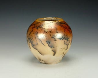 Horse Hair Raku Pottery.  Terra Sigillata, hand polished.  Ready to ship.