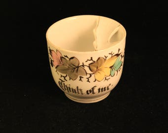 """Vintage Mustache Cup """"Think Of Me"""" Porcelain Leaves with Gold Trim Great Gift"""