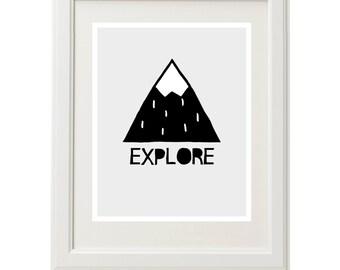 Mountain print, mountain art, mountain illustration, mountains nursery decor, woodland nursery print, mountain wall art, downloadable print