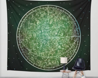 Zodiac Star Map Tapestry, Vintage Star Map Large Size Wall Art, Astronomy, Dorm, Office Decor, Ancient Map, Astrology, Star Sign, Horoscope