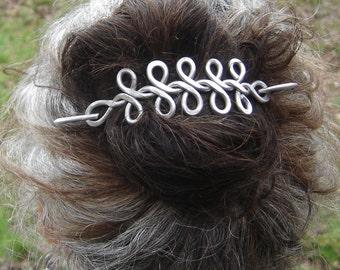 Long Celtic Braid Aluminum Hair Barrette, Hair Pin, Shawl Pin, Scarf Pin, Hair Clip, Celtic Long Hair Accessories Celtic Knots, Gift for Her
