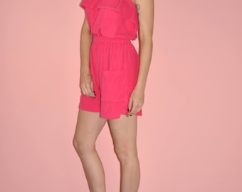 Vintage 80s Hot Pink Terrycloth Ruffle Strapless Beach Jumpsuit Playsuit Romper