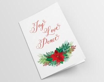 Christmas Card, Joy, Love, Peace, Two Colours Versions, Greeting card, Digital Item, Printable