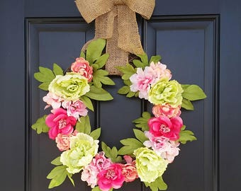 Ready to Ship! Spring Floral Wreath || Easter || Mother's Day || Front Door Wreath || Gift Ideas || Peonies || Summer Wreath || Burlap Bow