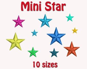 Mini Star Machine Embroidery Design, 10 Sizes Mini Stars,  DIGITAL INSTANT DOWNLOAD 104