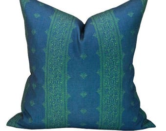 OUTDOOR - Fez pillow cover in Green/Indigo