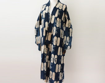 Noragi Coat Japanese Vintage Dragon fly Kasuri Aizome Fabric Indigo Dyed Antique Kimono 野良着 藍染 襤褸 とんぼ絣 ジャパン ヴィンテージ 20~30年代