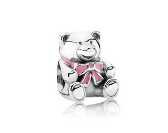 PANDORA Silver and Pink Teddy Bear Charm 791124EN24