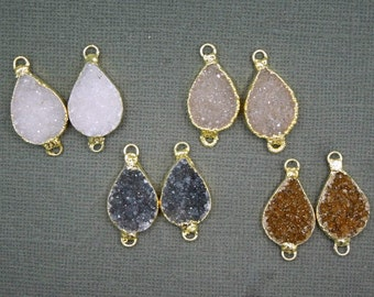 Druzy Drusy Druzzy Teardrop Pendant Connectors electroplated in 24k Gold-- ONE PAIR Gold Druzy Pendant Connectors (S18B8-08)