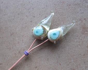 Lampwork Headpins - Glass Headpins - Le Tropique Glass Headpins - Copper wire - Glass Headpins Pair - SueBeads - Headpins