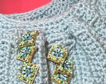 Handmade upcycled boho bohemian crocheted crossbody weekender beach market tote bag purse