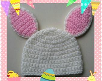 Newborn/Toddler/Adult Crochet Multicolor Easter Bunny hat, Rabbit Hat, Easter hat