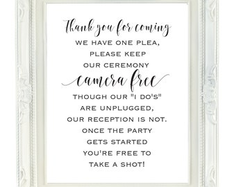 Camera Free Ceremony Sign, Please Keep Our Ceremony Camera Free, 8x10 Printable Wedding Sign, Digital Wedding Sign, Unplugged Ceremony