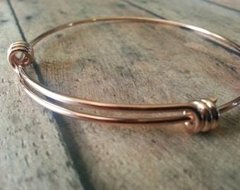 Rose Gold Adjustable Bangle Bracelet - Stainless Steel