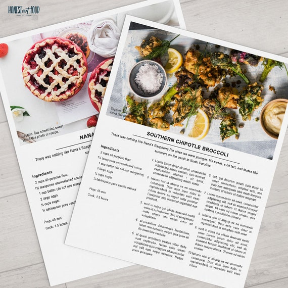 printable recipe template 8 5x11 photoshop instant download
