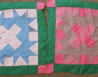 GRAPHIC PAIR VINTAGE ..QUILT BLOCKS..HANDS ALL ROUND..C 1930'S ..GREAT FABRICS