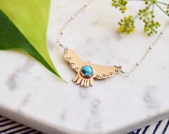 Hawk Necklace Turquoise Jewelry Eagle Jewelry Free / Wild Hand Stamped Boho Jewelry Turquoise Necklace Pendant Gypsy Gold Recycled Silver