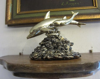 Dolphin and baby swimming sculpture w/ free ship
