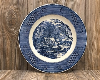"""2 Vintage Blue and White Currier and Ives 10"""" Dinner Plates • Old Grist Mill Pattern • Blue Transfer Ware Plates by Royal China"""