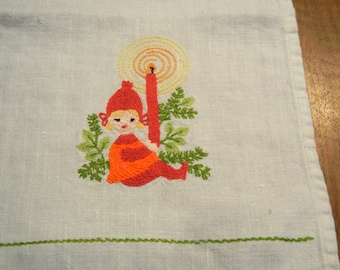 Christmas fingertip towel - hand embroidered towel