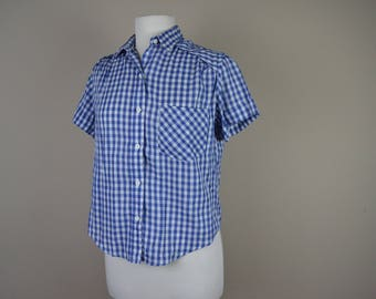 Blue and white gingham shirt - button down vintage shirt - 1980s Dorothy shirt 80s eighties